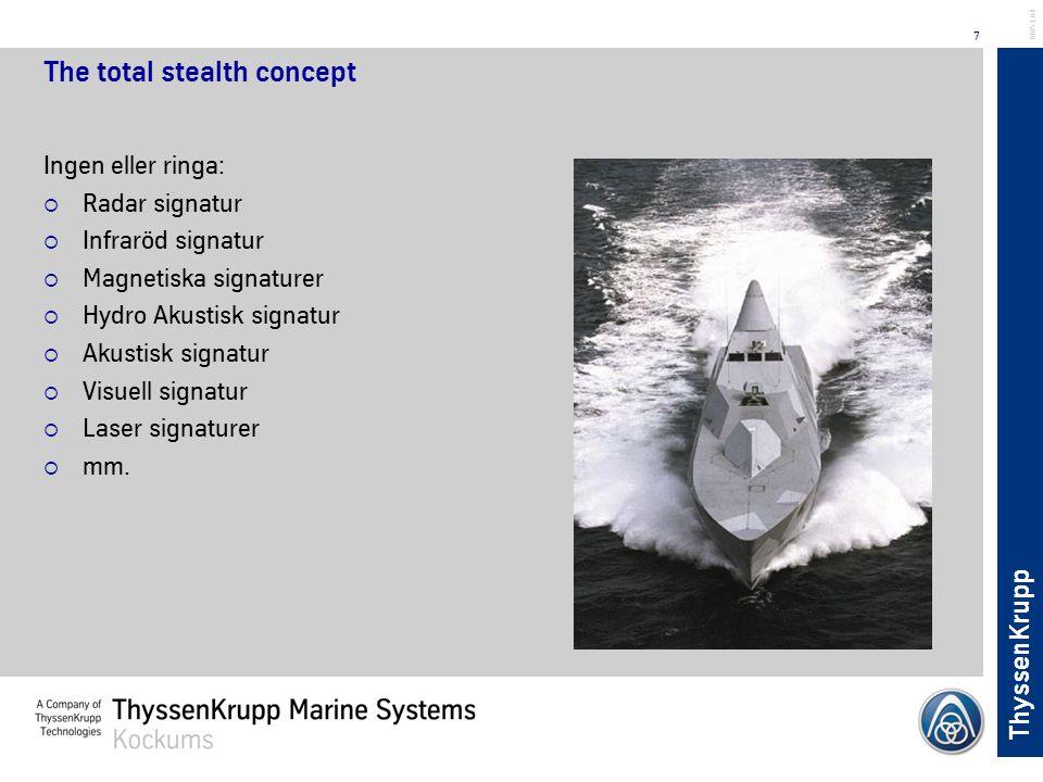 ThyssenKrupp 7 BL051.04 The total stealth concept Ingen eller ringa:  Radar signatur  Infraröd signatur  Magnetiska signaturer  Hydro Akustisk sig