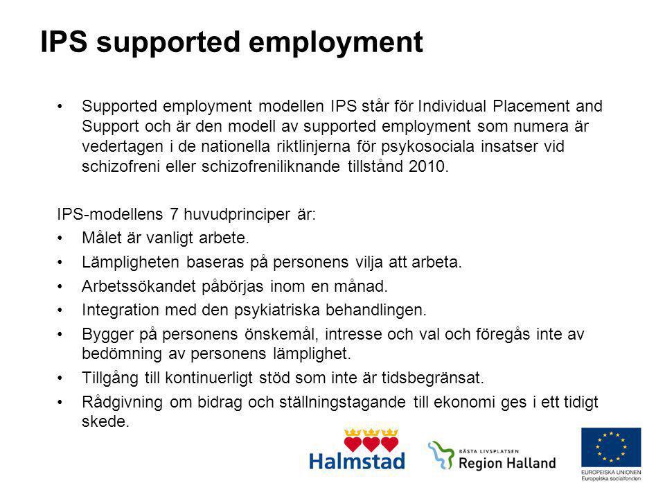 IPS supported employment •Supported employment modellen IPS står för Individual Placement and Support och är den modell av supported employment som nu
