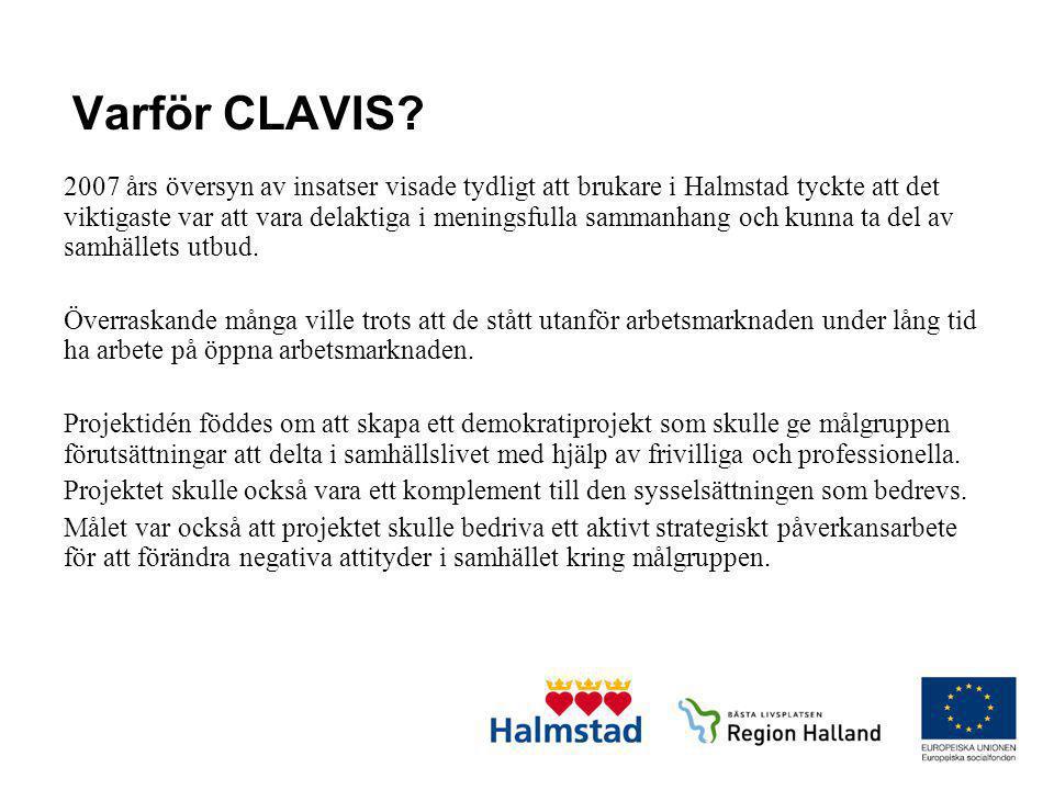 Varför CLAVIS? 2007 års översyn av insatser visade tydligt att brukare i Halmstad tyckte att det viktigaste var att vara delaktiga i meningsfulla samm