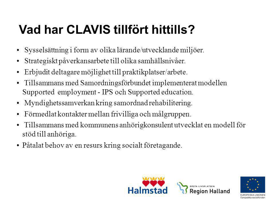 Vad har CLAVIS tillfört hittills? • Sysselsättning i form av olika lärande/utvecklande miljöer. • Strategiskt påverkansarbete till olika samhällsnivåe