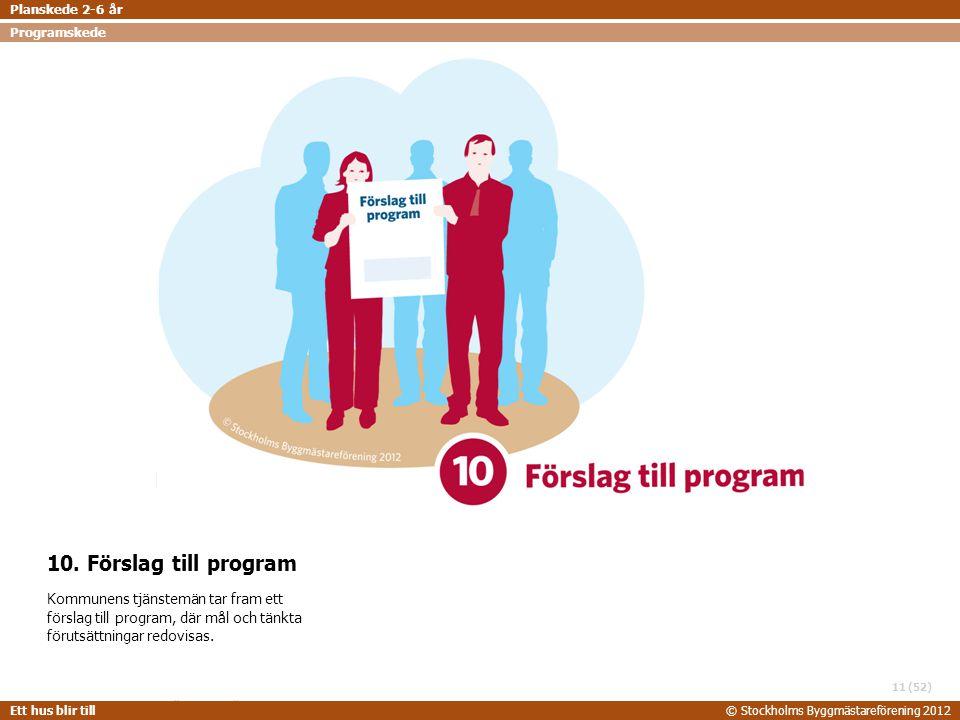 STOCKHOLMS BYGGMÄSTAREFÖRENING 2014-06-24 Ett hus blir till© Stockholms Byggmästareförening 2012 (52) 10. Förslag till program Kommunens tjänstemän ta