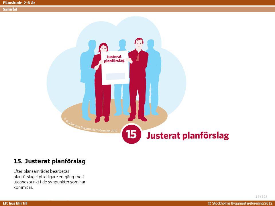 STOCKHOLMS BYGGMÄSTAREFÖRENING 2014-06-24 Ett hus blir till© Stockholms Byggmästareförening 2012 (52) 15. Justerat planförslag Efter plansamrådet bear