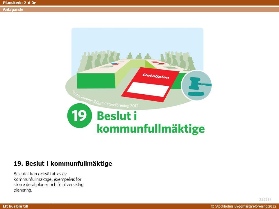 STOCKHOLMS BYGGMÄSTAREFÖRENING 2014-06-24 Ett hus blir till© Stockholms Byggmästareförening 2012 (52) 19. Beslut i kommunfullmäktige Beslutet kan ocks