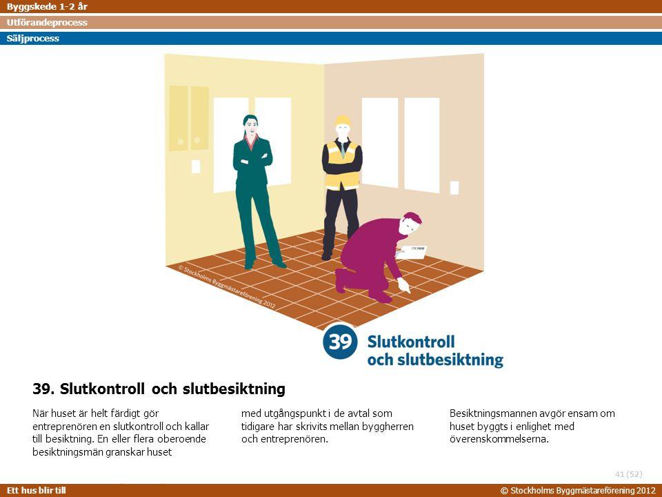 STOCKHOLMS BYGGMÄSTAREFÖRENING 2014-06-24 Ett hus blir till© Stockholms Byggmästareförening 2012 (52) 39. Slutkontroll och slutbesiktning När huset är