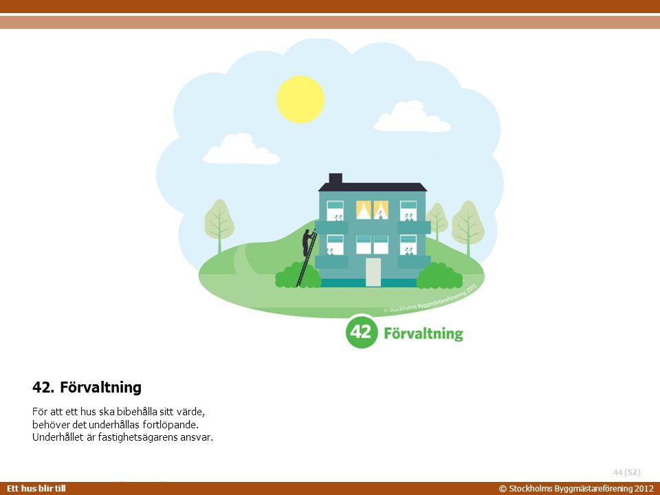 STOCKHOLMS BYGGMÄSTAREFÖRENING 2014-06-24 Ett hus blir till© Stockholms Byggmästareförening 2012 (52) 42. Förvaltning För att ett hus ska bibehålla si