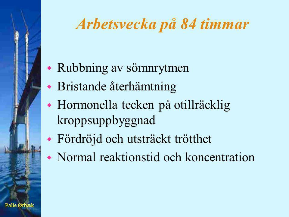 Palle Ørbæk Arbetsvecka på 84 timmar w Rubbning av sömnrytmen w Bristande återhämtning w Hormonella tecken på otillräcklig kroppsuppbyggnad w Fördröjd
