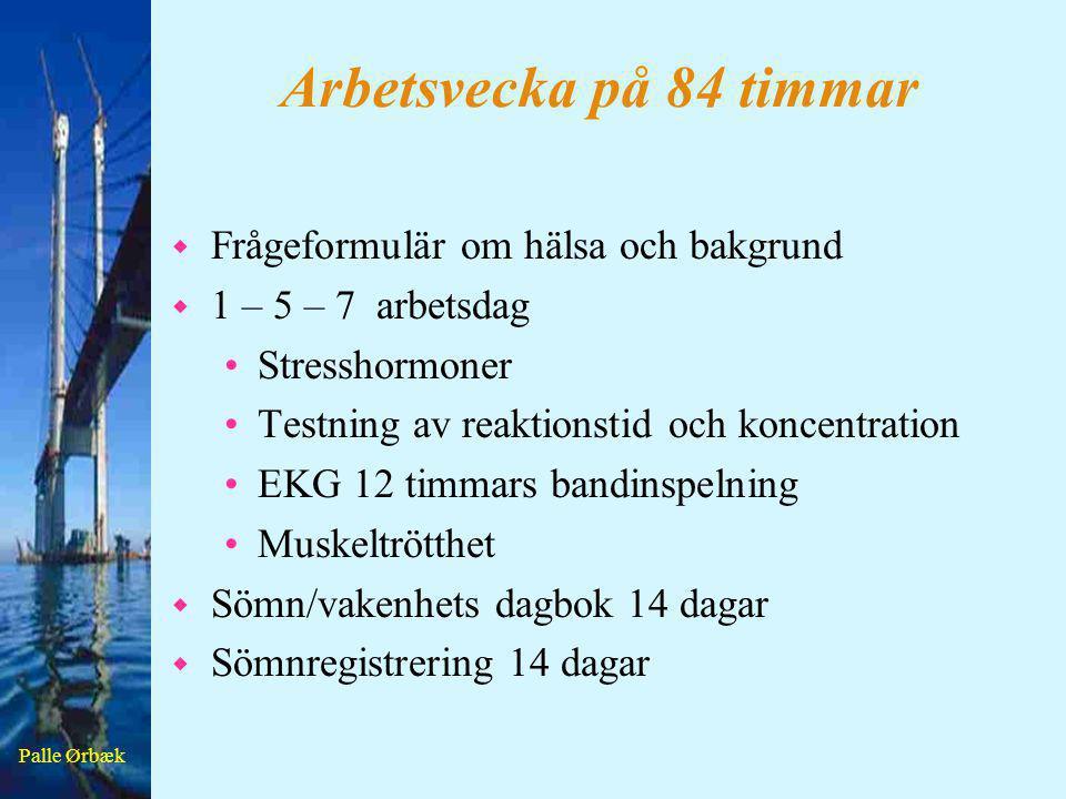 Palle Ørbæk Arbetsvecka på 84 timmar w Mental trötthet fm dag 1-5-7 •Subjektiv skattning •Reaktionstid •Reaktionstid med inhibition •K-test •Digit symbol w Muskeltrötthet •Före och efter arbete dag 1-5-7 •Yamar dynamometer bästa av tre försök