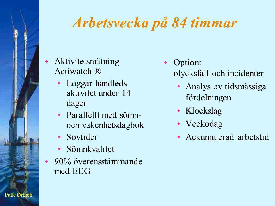 Palle Ørbæk Arbetsvecka på 84 timmar w Aktivitetsmätning Actiwatch ® •Loggar handleds- aktivitet under 14 dager •Parallellt med sömn- och vakenhetsdag
