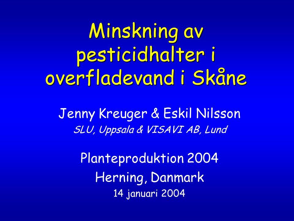 För information om pesticidövervakning besök vår hemsida: www.mv.slu.se/vv (SLU/Markvetenskap/Vattenvårdslära) www.mv.slu.se/vv Där finns information om projekt, rapporter i pdf-format, samt möjlighet att göra sökning i en pesticiddatabas Undersökningarna och databasen finansieras fr 2001 av Naturvårdsverket