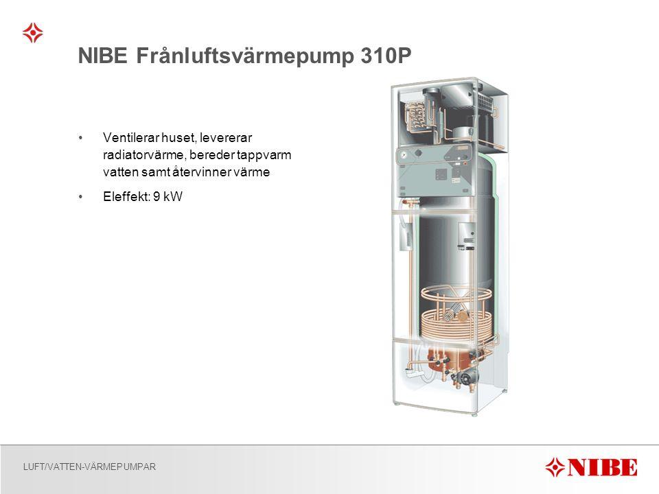 LUFT/VATTEN-VÄRMEPUMPAR NIBE Frånluftsvärmepump 310P •Ventilerar huset, levererar radiatorvärme, bereder tappvarm vatten samt återvinner värme •Eleffekt: 9 kW