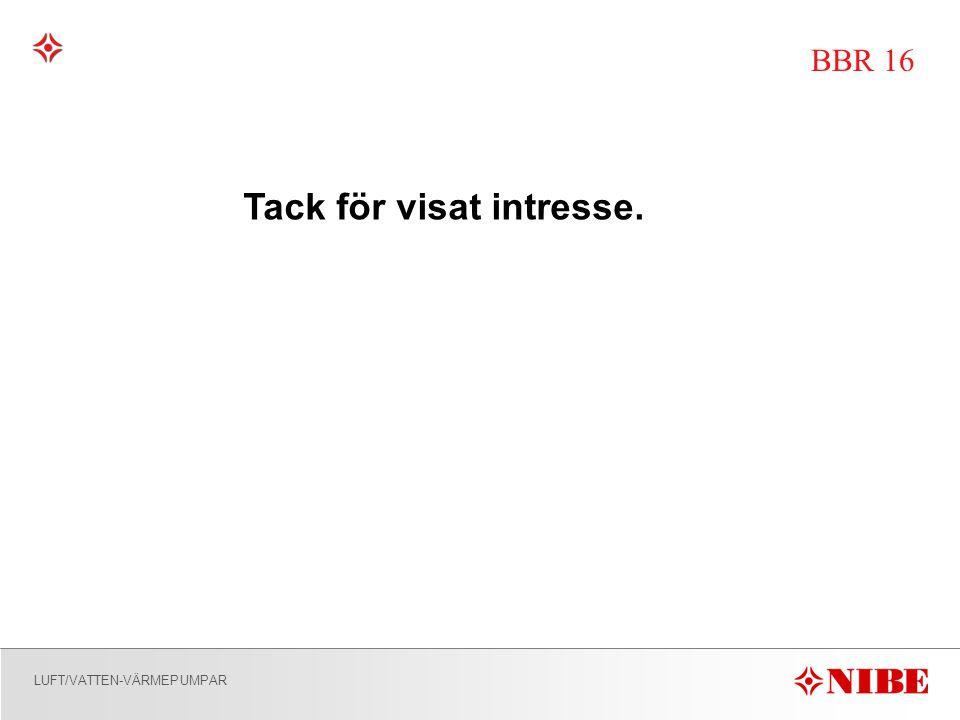 LUFT/VATTEN-VÄRMEPUMPAR BBR 16 Tack för visat intresse.