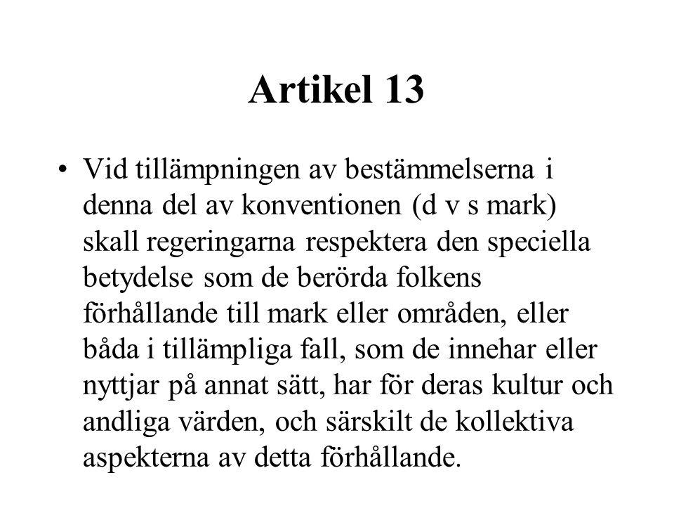 Artikel 13 •Vid tillämpningen av bestämmelserna i denna del av konventionen (d v s mark) skall regeringarna respektera den speciella betydelse som de berörda folkens förhållande till mark eller områden, eller båda i tillämpliga fall, som de innehar eller nyttjar på annat sätt, har för deras kultur och andliga värden, och särskilt de kollektiva aspekterna av detta förhållande.
