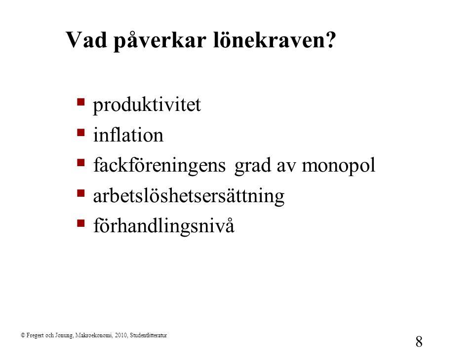 © Fregert och Jonung, Makroekonomi, 2010, Studentlitteratur 19 Arbetsmarknadspolitik  Aktiv arbetsmarknadspolitik –Arbetsförmedling –arbetsmarknadsutbildning –sysselsättningsskapande åtgärder.