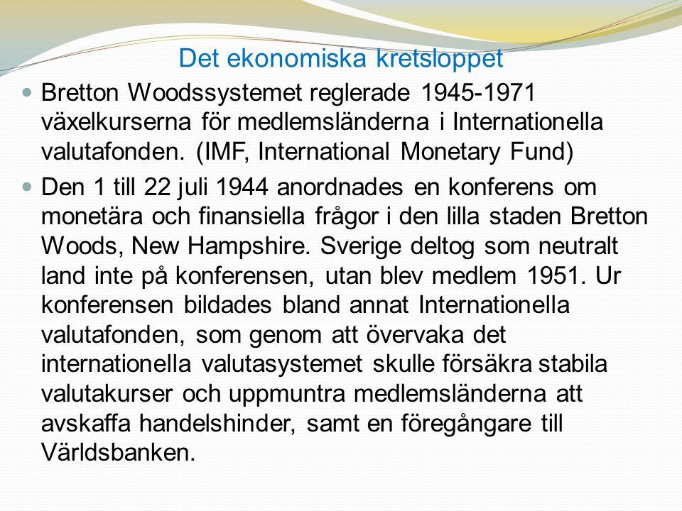 Det ekonomiska kretsloppet  Bretton Woodssystemet reglerade 1945-1971 växelkurserna för medlemsländerna i Internationella valutafonden. (IMF, Interna