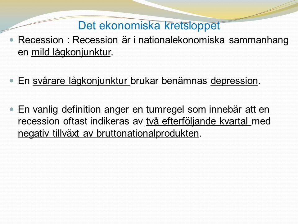 Det ekonomiska kretsloppet  Recession : Recession är i nationalekonomiska sammanhang en mild lågkonjunktur.  En svårare lågkonjunktur brukar benämna