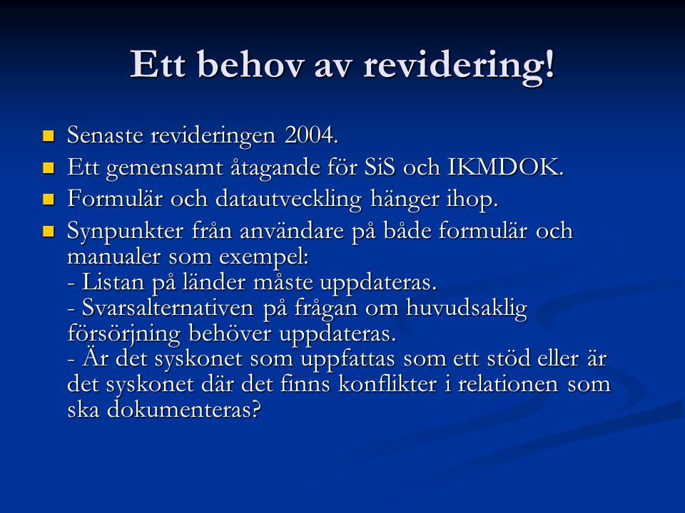 Ett behov av revidering!  Senaste revideringen 2004.  Ett gemensamt åtagande för SiS och IKMDOK.  Formulär och datautveckling hänger ihop.  Synpun
