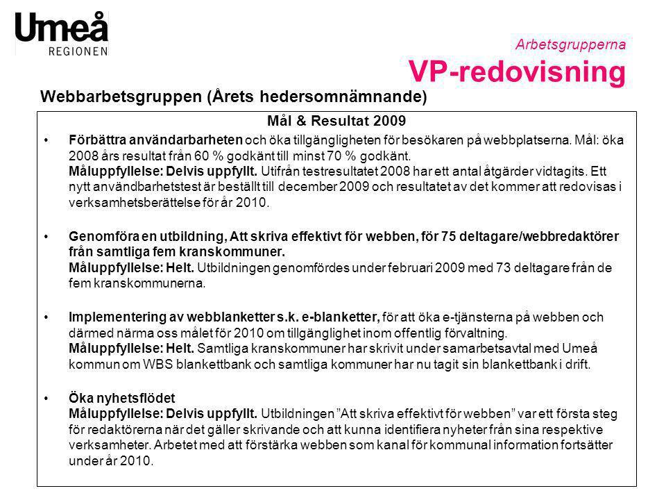 Mål & Resultat 2009 •Förbättra användarbarheten och öka tillgängligheten för besökaren på webbplatserna. Mål: öka 2008 års resultat från 60 % godkänt