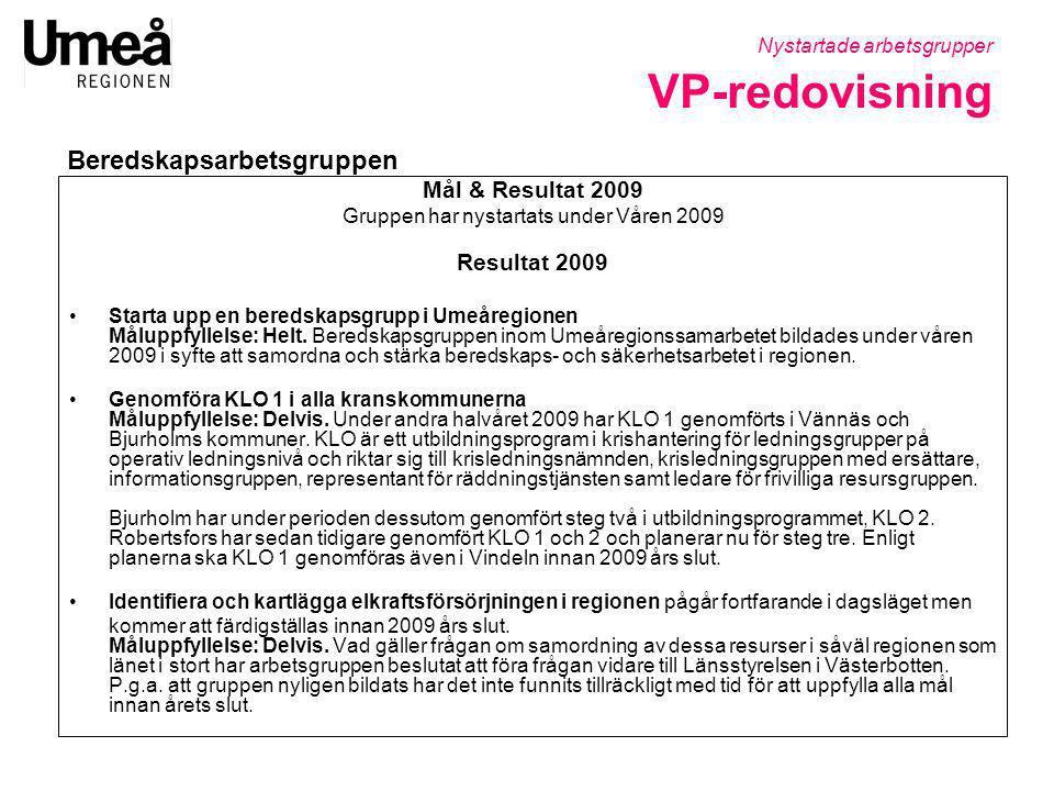 Mål & Resultat 2009 Gruppen har nystartats under Våren 2009 Resultat 2009 •Starta upp en beredskapsgrupp i Umeåregionen Måluppfyllelse: Helt. Beredska