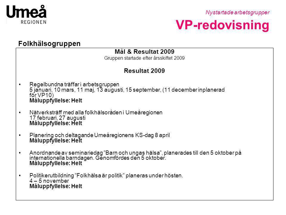 Mål & Resultat 2009 Gruppen startade efter årsskiftet 2009 Resultat 2009 •Regelbundna träffar i arbetsgruppen 5 januari, 10 mars, 11 maj, 13 augusti,
