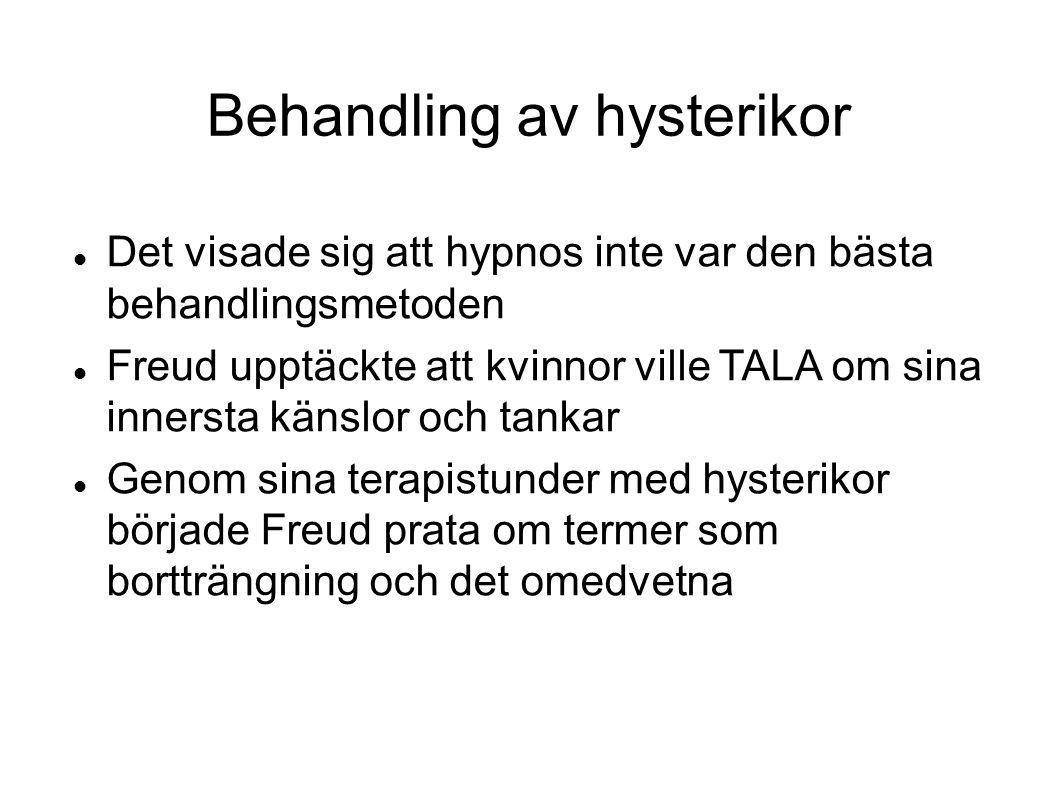 Behandling av hysterikor  Det visade sig att hypnos inte var den bästa behandlingsmetoden  Freud upptäckte att kvinnor ville TALA om sina innersta k