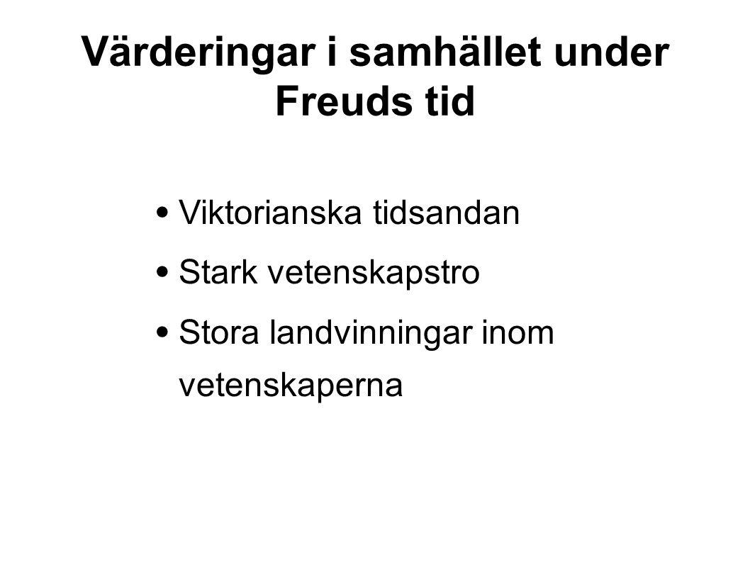 Värderingar i samhället under Freuds tid • Viktorianska tidsandan • Stark vetenskapstro • Stora landvinningar inom vetenskaperna