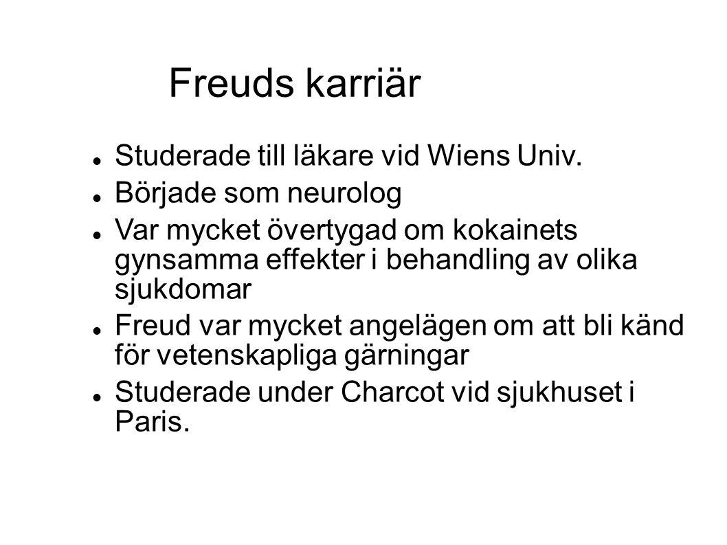  Studerade till läkare vid Wiens Univ.  Började som neurolog  Var mycket övertygad om kokainets gynsamma effekter i behandling av olika sjukdomar 