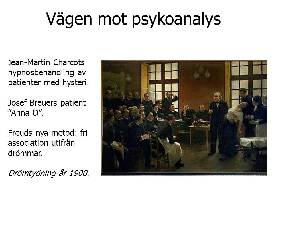 """Vägen mot psykoanalys J J ean-Martin Charcots hypnosbehandling av patienter med hysteri. Josef Breuers patient """"Anna O"""". Freuds nya metod: fri associa"""