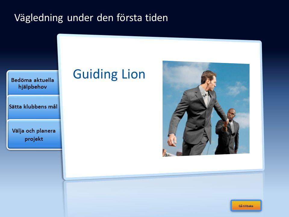 Vägledning under den första tiden Guiding Lion Bedöma aktuella hjälpbehov Sätta klubbens mål Välja och planera projekt Gå tillbaka