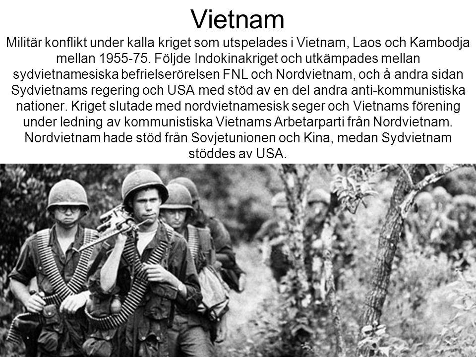 Vietnam Militär konflikt under kalla kriget som utspelades i Vietnam, Laos och Kambodja mellan 1955-75. Följde Indokinakriget och utkämpades mellan sy