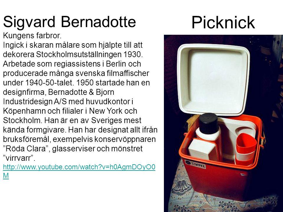 Picknick Sigvard Bernadotte Kungens farbror. Ingick i skaran målare som hjälpte till att dekorera Stockholmsutställningen 1930. Arbetade som regiassis