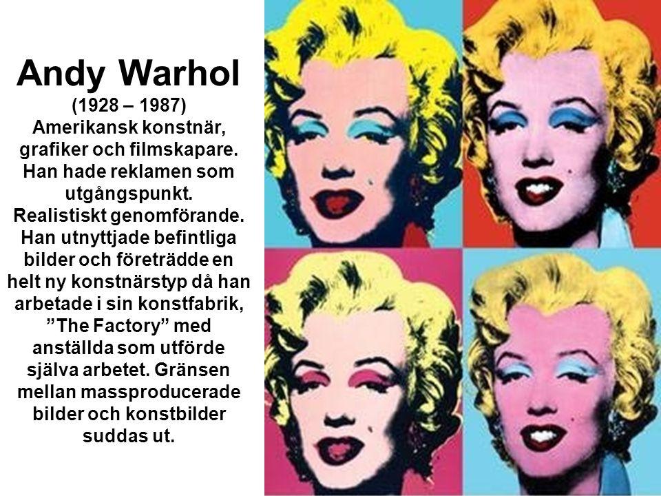 •Warhols konstproduktion består till stor del av porträtt, reproducerade dokumentära bilder och installationer av konsumtionsvaror.