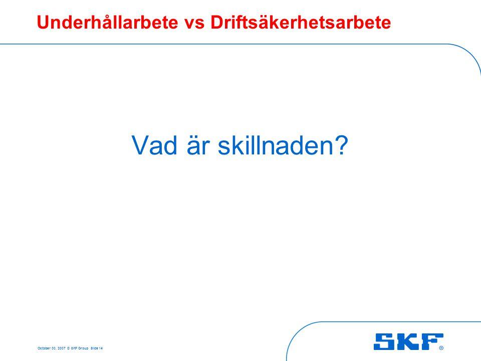 October 30, 2007 © SKF Group Slide 14 Underhållarbete vs Driftsäkerhetsarbete Vad är skillnaden?