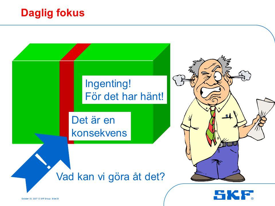 October 30, 2007 © SKF Group Slide 29 ! Vad kan vi göra åt det? Ingenting! För det har hänt! Det är en konsekvens Daglig fokus