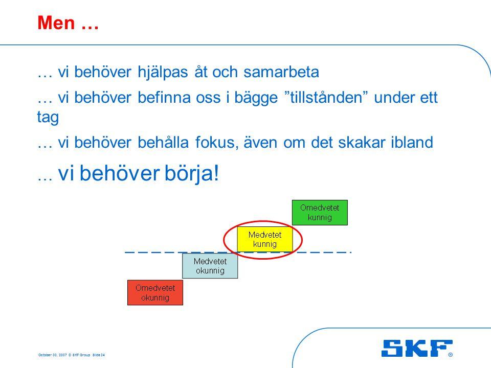 """October 30, 2007 © SKF Group Slide 34 Men … … vi behöver hjälpas åt och samarbeta … vi behöver befinna oss i bägge """"tillstånden"""" under ett tag … vi be"""