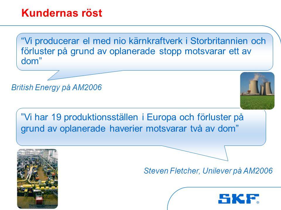 """October 30, 2007 © SKF Group Slide 3 """"Vi har 19 produktionsställen i Europa och förluster på grund av oplanerade haverier motsvarar två av dom"""" """"Vi pr"""