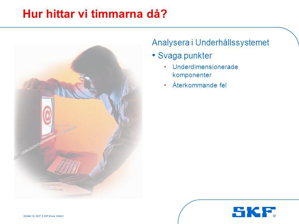 October 30, 2007 © SKF Group Slide 41 Hur hittar vi timmarna då? Analysera i Underhållssystemet • Svaga punkter • Underdimensionerade komponenter • Åt