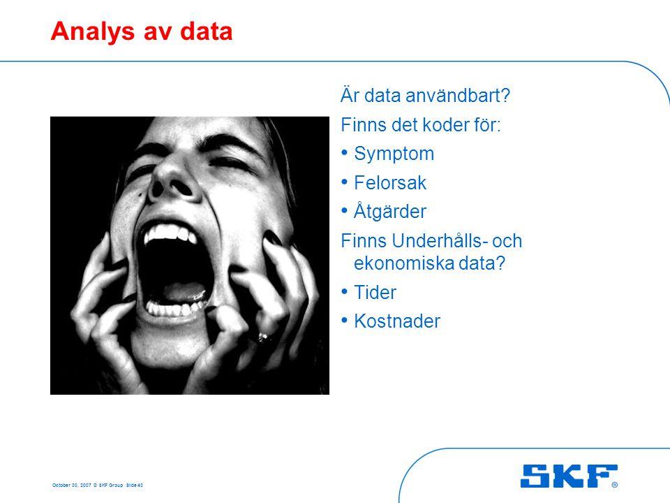 October 30, 2007 © SKF Group Slide 43 Analys av data Är data användbart? Finns det koder för: • Symptom • Felorsak • Åtgärder Finns Underhålls- och ek