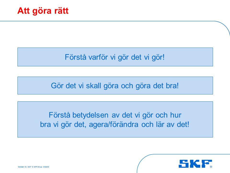 October 30, 2007 © SKF Group Slide 52 Att göra rätt Förstå varför vi gör det vi gör! Gör det vi skall göra och göra det bra! Förstå betydelsen av det