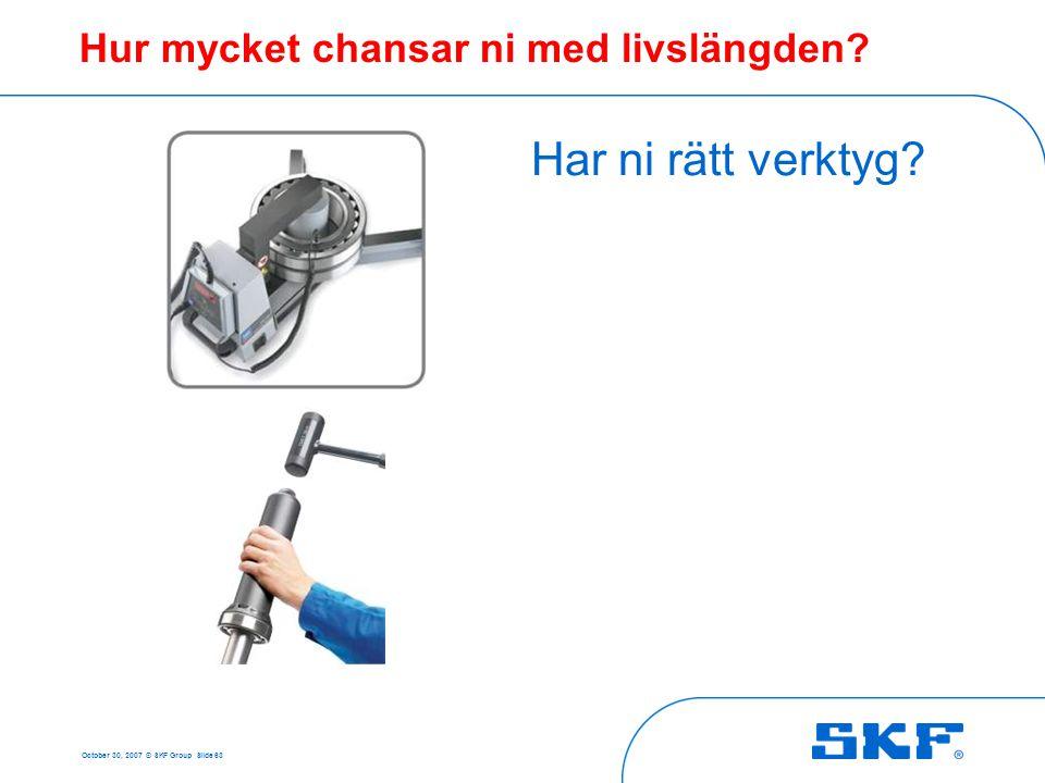 October 30, 2007 © SKF Group Slide 63 Hur mycket chansar ni med livslängden? Har ni rätt verktyg?