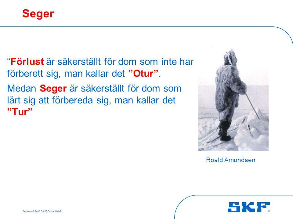 """October 30, 2007 © SKF Group Slide 72 Seger Roald Amundsen """"Förlust är säkerställt för dom som inte har förberett sig, man kallar det """"Otur"""". Medan Se"""