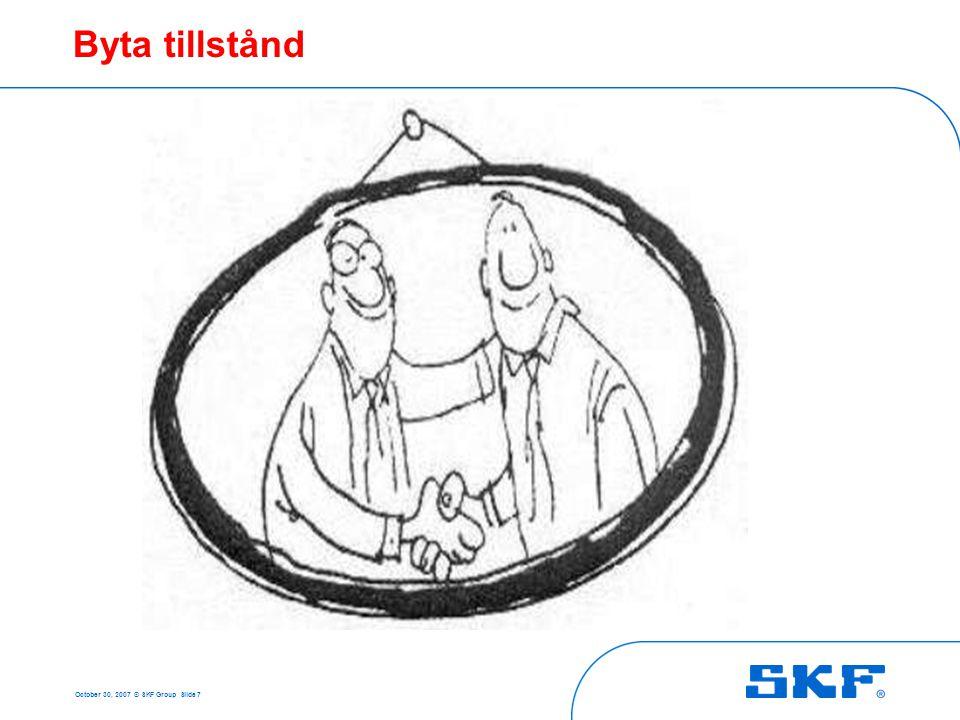 October 30, 2007 © SKF Group Slide 7 Byta tillstånd