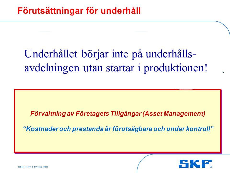 """October 30, 2007 © SKF Group Slide 8 Förvaltning av Företagets Tillgångar (Asset Management) """"Kostnader och prestanda är förutsägbara och under kontro"""