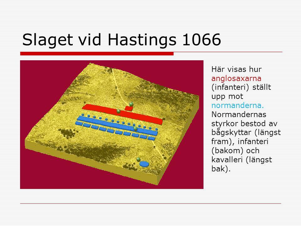 Slaget vid Hastings 1066 Här visas hur anglosaxarna (infanteri) ställt upp mot normanderna. Normandernas styrkor bestod av bågskyttar (längst fram), i