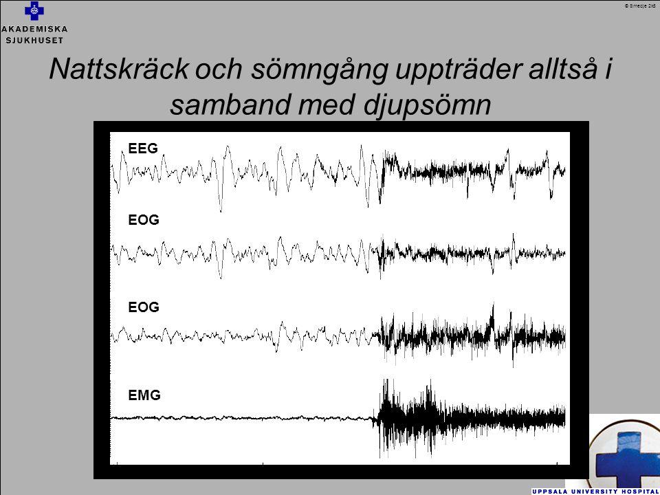 Nattskräck och sömngång uppträder alltså i samband med djupsömn EEG EOG EMG © Smedje 2k5