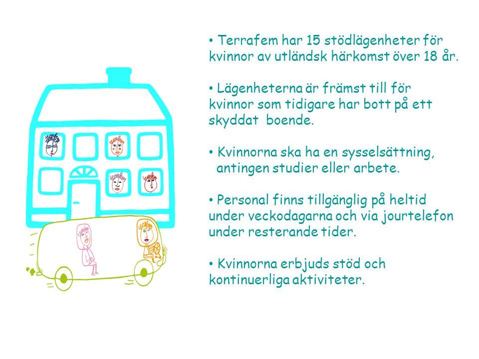 • Terrafem har 15 stödlägenheter för kvinnor av utländsk härkomst över 18 år.
