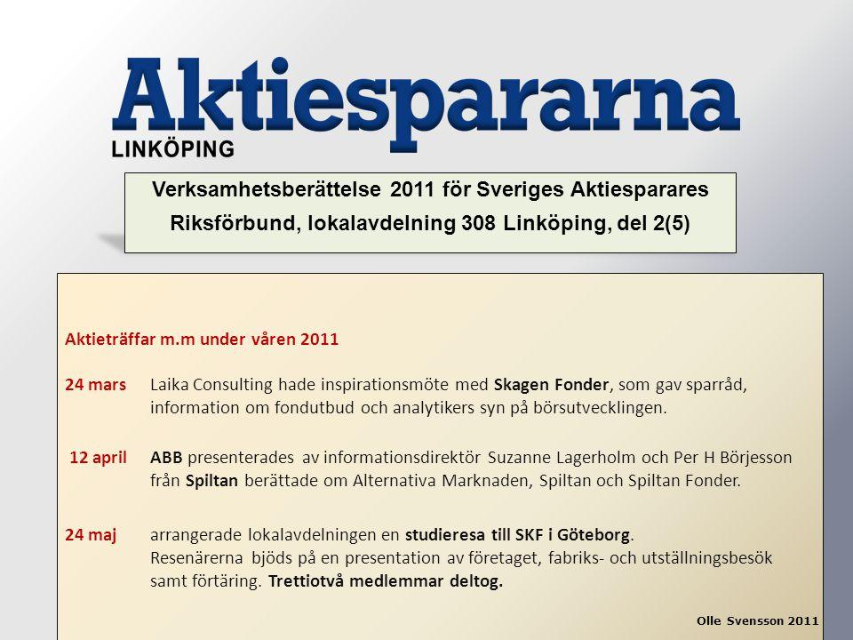 Aktieträffar m.m under våren 2011 24 mars Laika Consulting hade inspirationsmöte med Skagen Fonder, som gav sparråd, information om fondutbud och anal