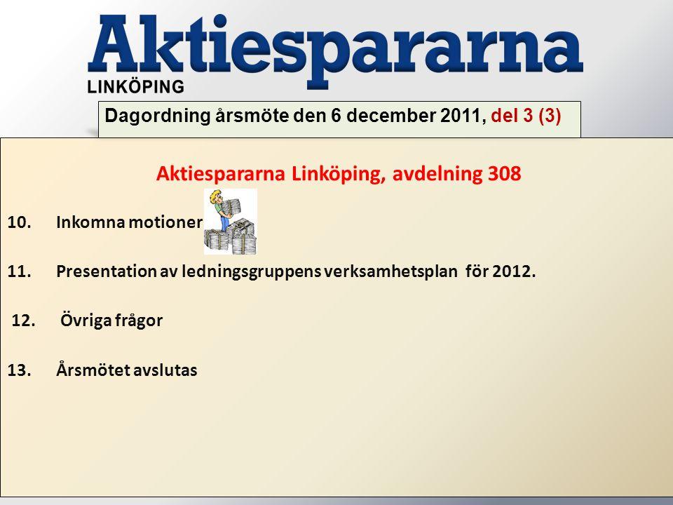 Aktiespararna Linköping, avdelning 308 10. Inkomna motioner 11. Presentation av ledningsgruppens verksamhetsplan för 2012. 12. Övriga frågor 13. Årsmö