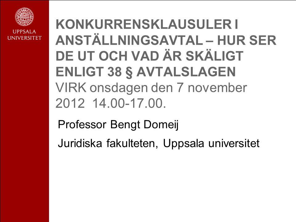 KONKURRENSKLAUSULER I ANSTÄLLNINGSAVTAL – HUR SER DE UT OCH VAD ÄR SKÄLIGT ENLIGT 38 § AVTALSLAGEN VIRK onsdagen den 7 november 2012 14.00-17.00.