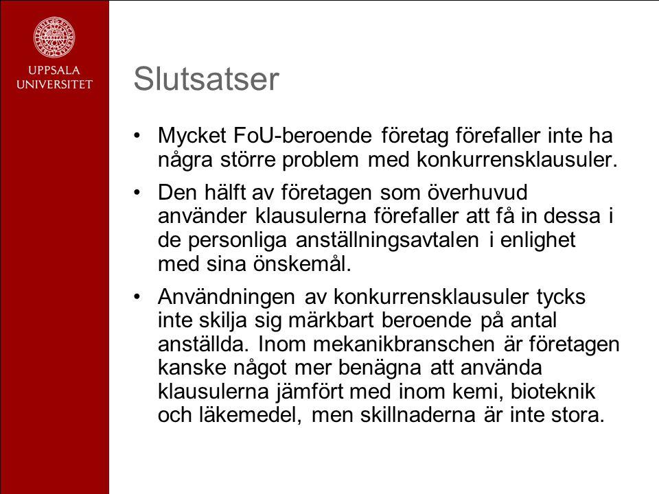 Slutsatser •Mycket FoU-beroende företag förefaller inte ha några större problem med konkurrensklausuler.