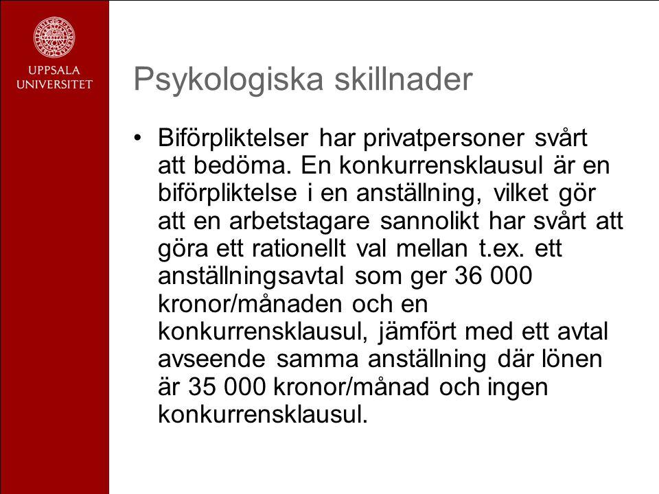 Psykologiska skillnader •Biförpliktelser har privatpersoner svårt att bedöma.